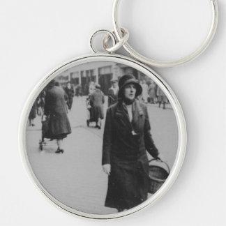 Lady Shopping Black & White Premium Round Keychain