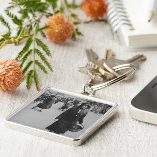 Lady Shopping Black White Premium Square Keychain