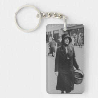 Lady Shopping Vintage Acrylic Rectangle Keychain