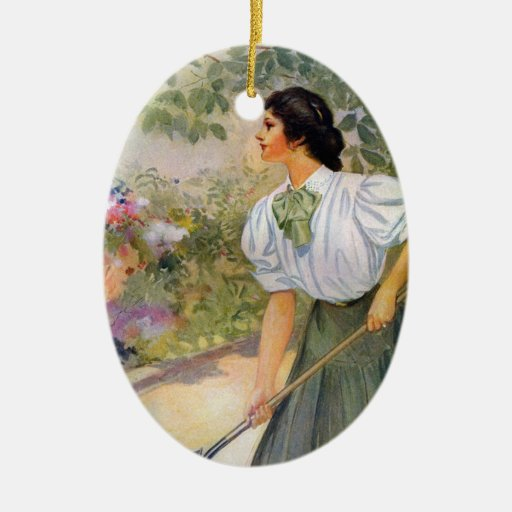 Lady Shoveling Dirt in Flower Bed Christmas Ornaments