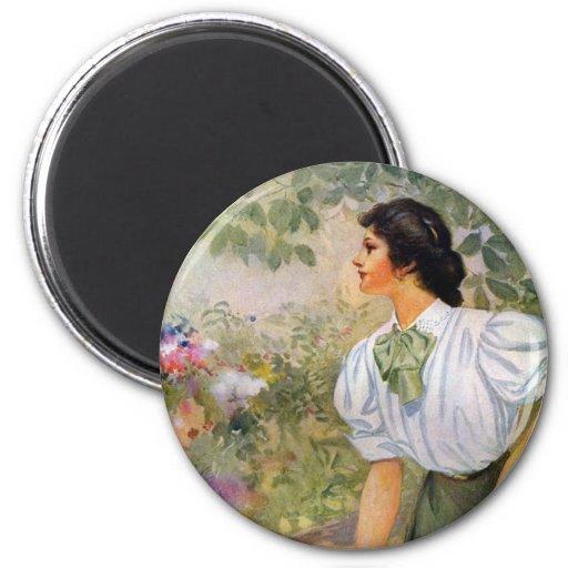Lady Shoveling Dirt in Flower Bed Magnets