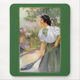 Lady Shoveling Dirt in Flower Bed Mousepads