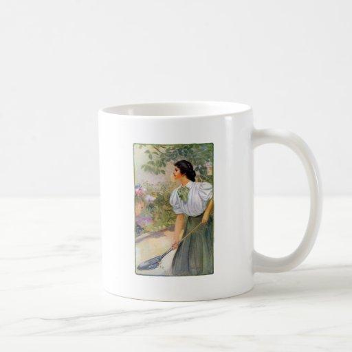 Lady Shoveling Dirt in Flower Bed Mug