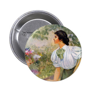 Lady Shoveling Dirt in Flower Bed Pinback Buttons