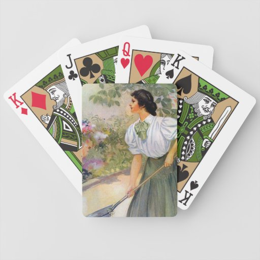 Lady Shoveling Dirt in Flower Bed Playing Cards