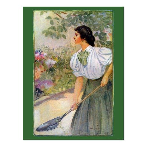 Lady Shoveling Dirt in Flower Bed Postcards