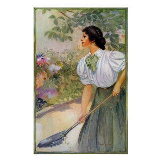 Lady Shoveling Dirt in Flower Bed Posters
