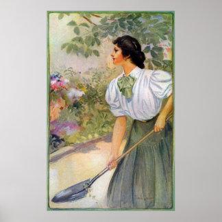 Lady Shoveling Dirt in Flower Bed Print