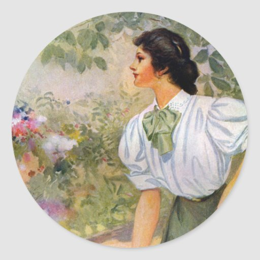Lady Shoveling Dirt in Flower Bed Round Sticker