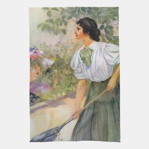 Lady Shoveling Dirt in Flower Bed Towels