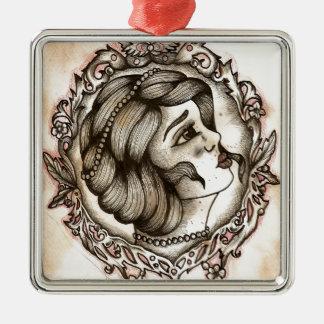 Lady Silver-Colored Square Decoration