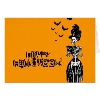 Lady Skelly with Bats Greeting Card