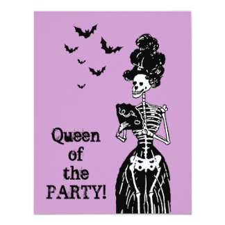 Lady Skelly with Bats 4.25x5.5 Paper Invitation Card