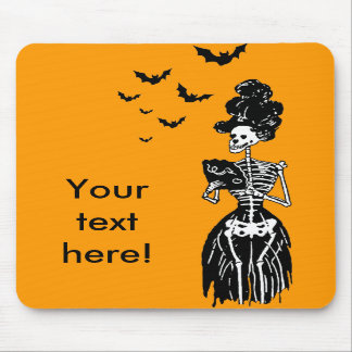 Lady Skelly with Bats Mousepads