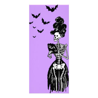 Lady Skelly with Bats Rack Card
