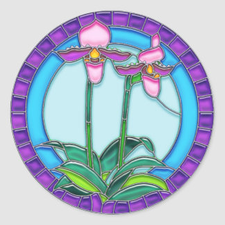 Lady Slipper Orchids in Circular Stained Glass Classic Round Sticker