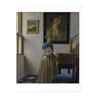 Lady Standing at a Virginal by Johannes Vermeer Postcard
