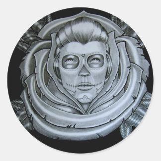 lady round sticker