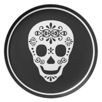 Lady Sugar Skull by Leslie Peppers Plate