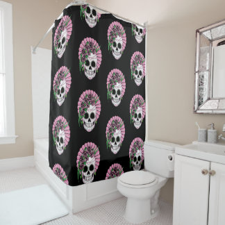 Lady Sugar Skull Shower Curtain