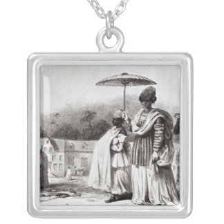 Lady taking child to Baptism Silver Plated Necklace