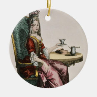Lady Taking Coffee, fashion plate, c.1695 (engravi Christmas Ornament