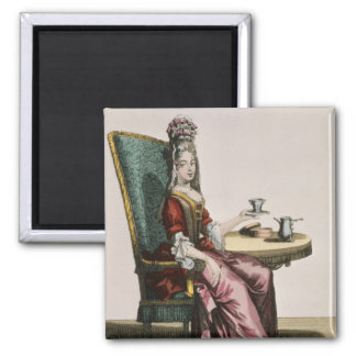 Lady Taking Coffee, fashion plate, c.1695 (engravi Magnet