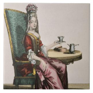 Lady Taking Coffee, fashion plate, c.1695 (engravi Tile