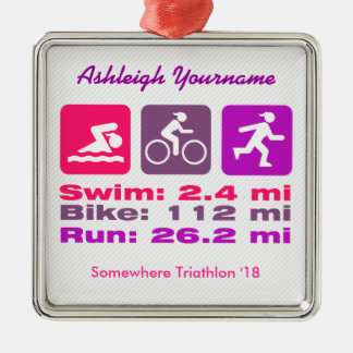 Lady Triathlete Swim Bike Run Pink Mauve Purple Christmas Ornament