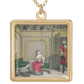 Lady undressing for the bath, published c.1688-90 gold plated necklace
