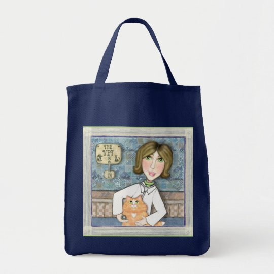 Lady Veterinarian with Cat Tote Bag