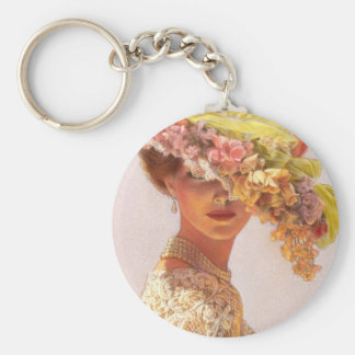 Lady Victoria Basic Round Button Key Ring