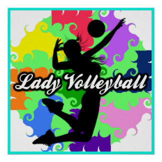 Lady Volleyball Graphic Poster