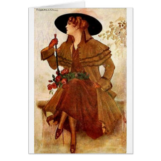 Lady Waiting on a Bench, Card