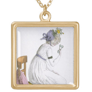 Lady wearing a negligee, from 'Costume Parisien', Gold Plated Necklace