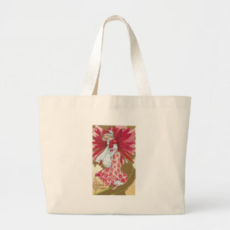 Lady Wearing Poinsettia Dress Vintage Christmas Bag