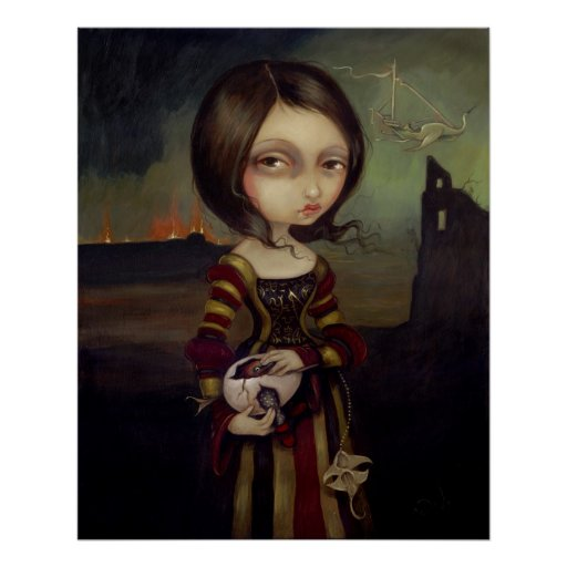 Lady with a Bosch Egg lowbrow gothic Art Print