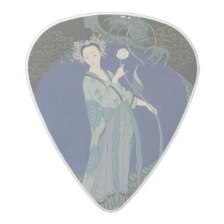 Lady with a Dragon (colour litho) Acetal Guitar Pick