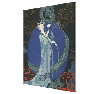 Lady with a Dragon (colour litho) Canvas Print
