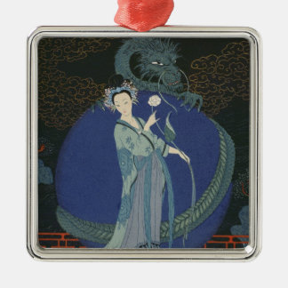 Lady with a Dragon (colour litho) Christmas Ornament