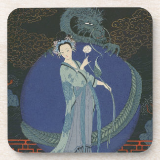 Lady with a Dragon (colour litho) Drink Coasters