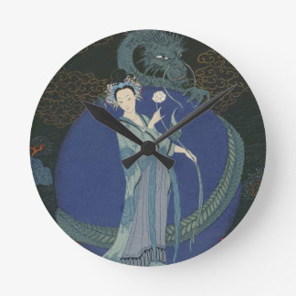 Lady with a Dragon (colour litho) Round Clock