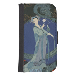Lady with a Dragon (colour litho) Samsung S4 Wallet Case