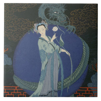 Lady with a Dragon (colour litho) Tile