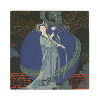 Lady with a Dragon (colour litho) Wood Coaster