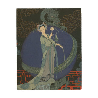 Lady with a Dragon (colour litho) Wood Wall Art