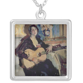 Lady with a Guitar, 1911 Silver Plated Necklace