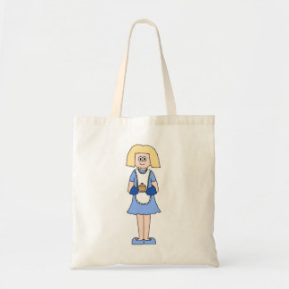 Lady with a Hot Dish of Food In Blue Canvas Bags