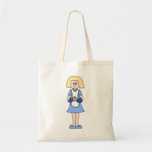 Lady with a Hot Dish of Food. In Blue. Canvas Bags