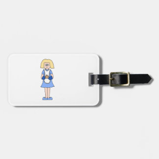 Lady with a Hot Dish of Food. In Blue. Luggage Tag